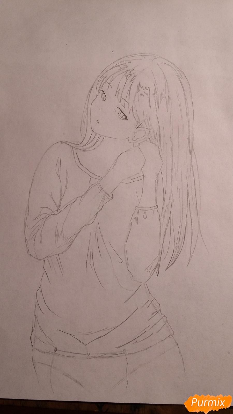 Как нарисовать милую девушку в аниме стиле карандашами поэтапно - шаг 5