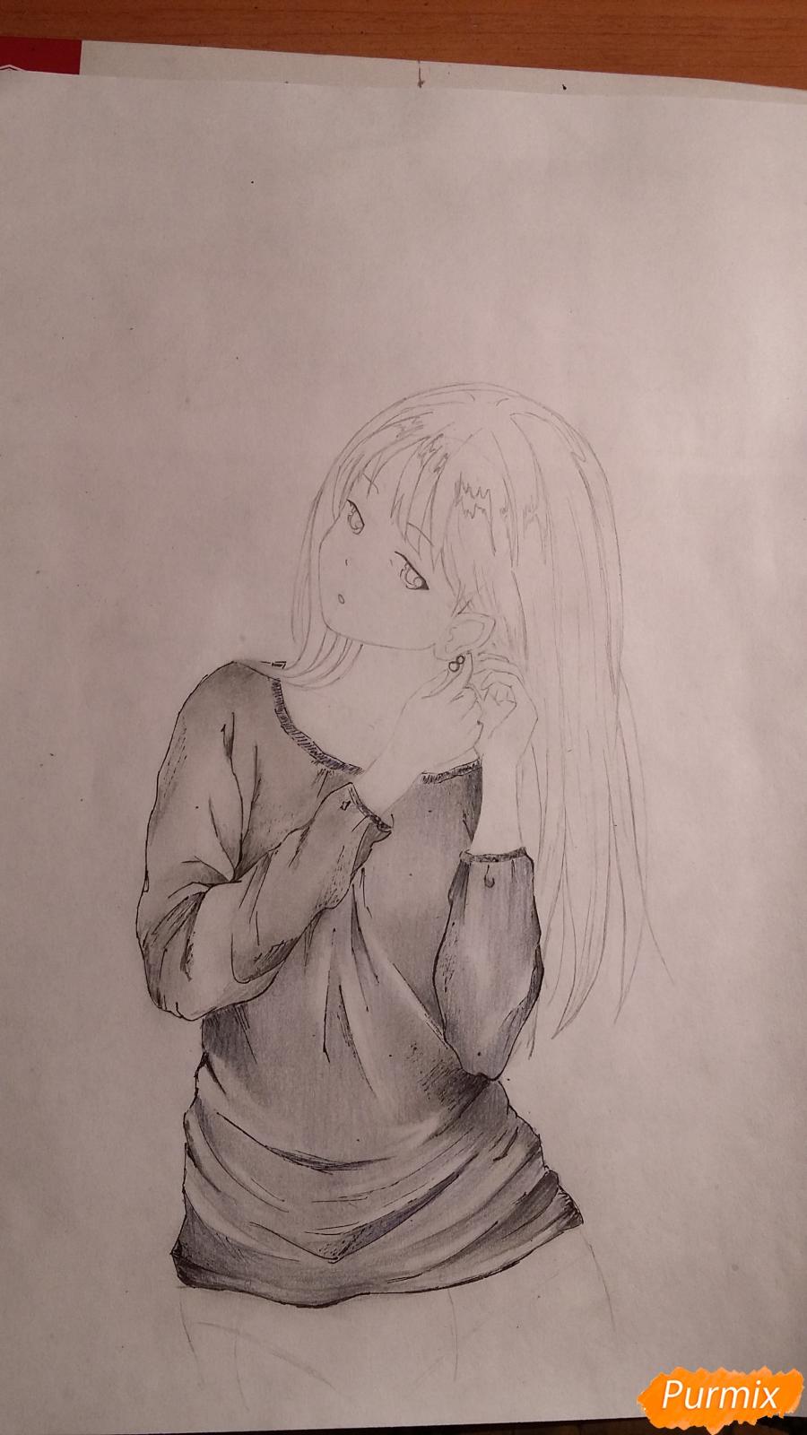 Рисуем милую девушку в аниме стиле карандашами - шаг 6