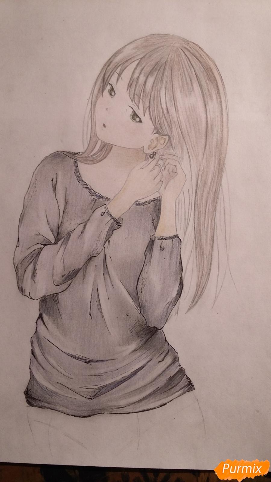Как нарисовать милую девушку в аниме стиле карандашами поэтапно - шаг 7