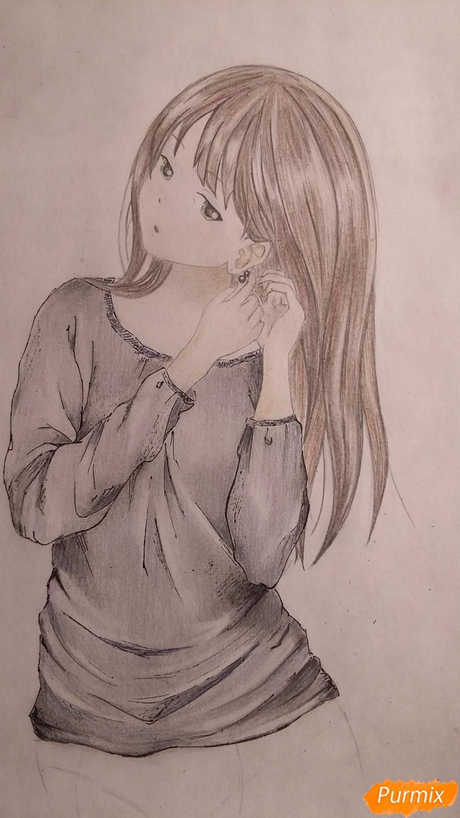 Как нарисовать милую девушку в аниме стиле карандашами поэтапно - шаг 8