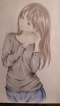 Фото милую девушку в аниме стиле карандашами