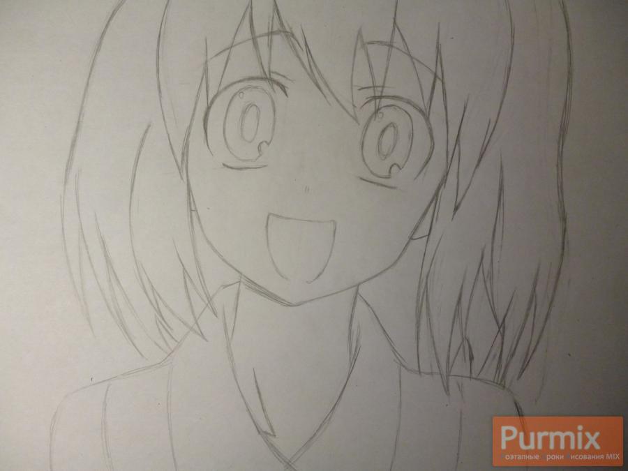 Как нарисовать Минори Кусиэду из аниме Торадора карандашом