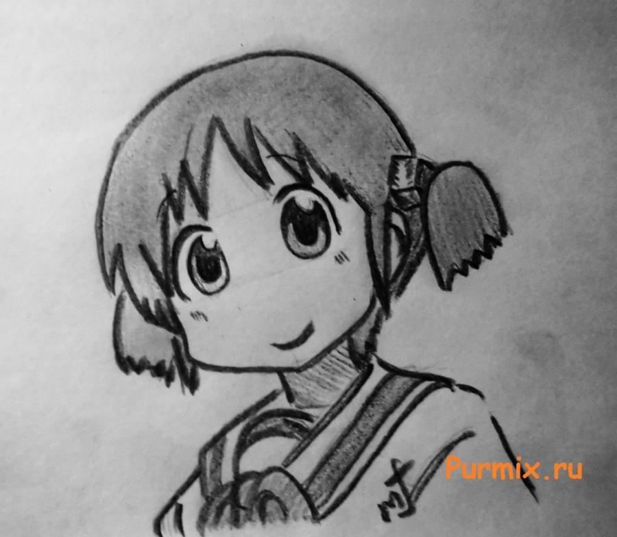 Рисуем Мио Наганохару из аниме Мелочи жизни