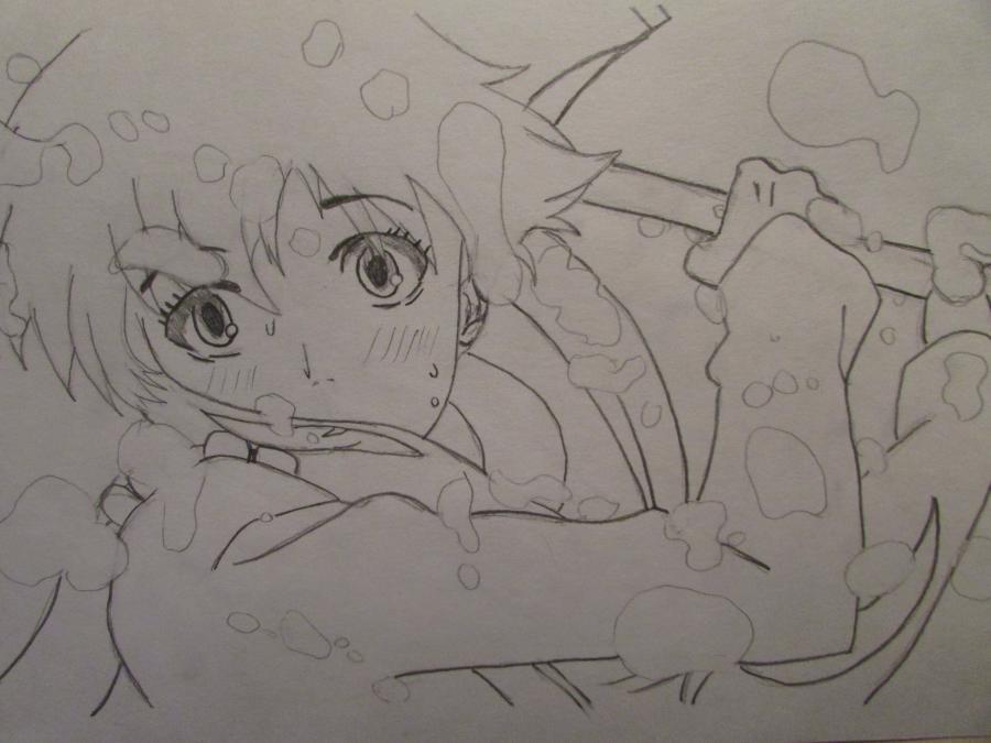 Рисуем Мираи Никки из аниме Дневник будущего - шаг 3