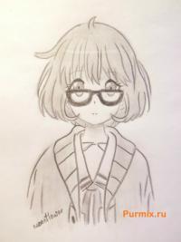 Рисунок Мирай Курияму из аниме За гранью