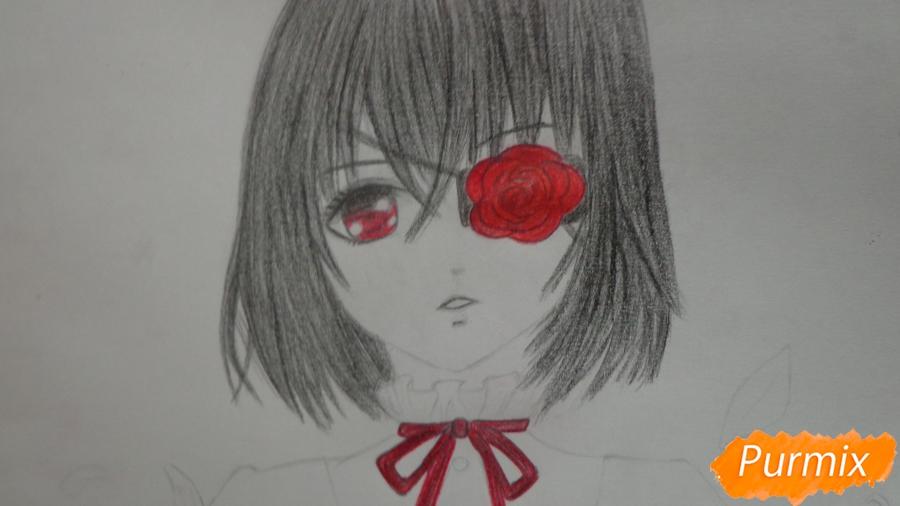Рисуем и раскрасить Мисаки Мэй из аниме Иная - шаг 10