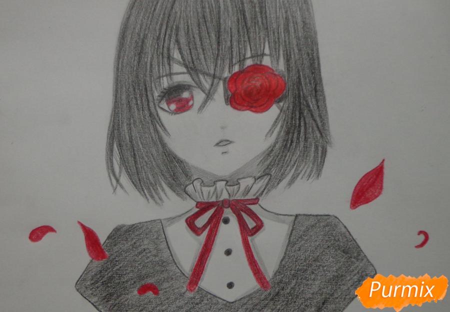 Рисуем Мисаки Мэй из аниме Иная карандашами - шаг 12