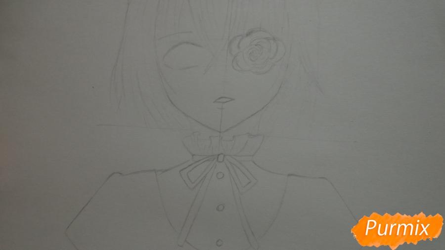 Рисуем и раскрасить Мисаки Мэй из аниме Иная - шаг 3
