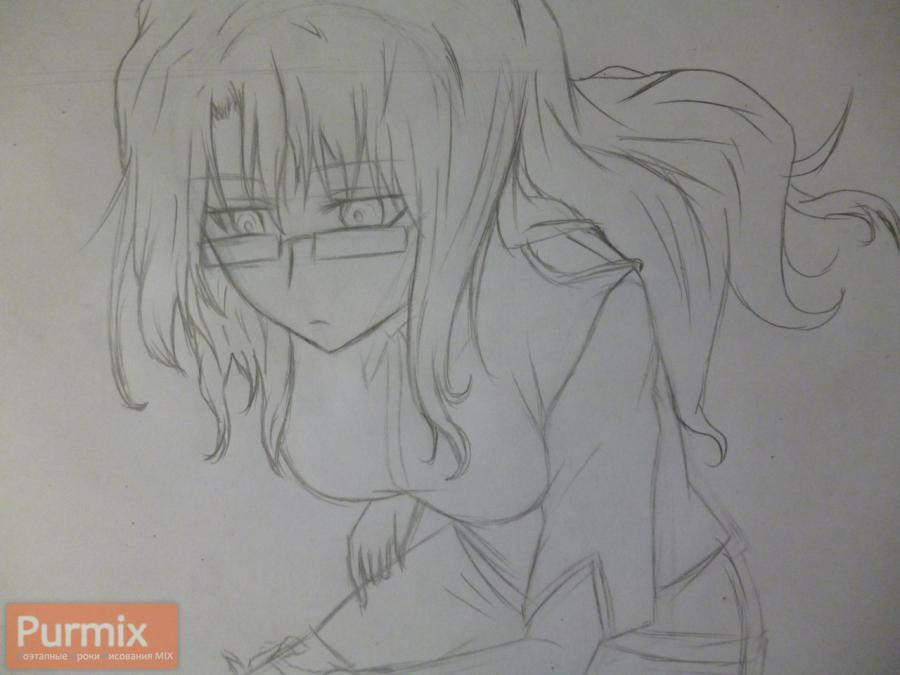 Как нарисовать Моэка Кирю из аниме Врата Штейна карандашом