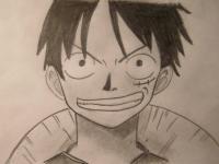 Монки Д. Луффи из One Piece карандашами