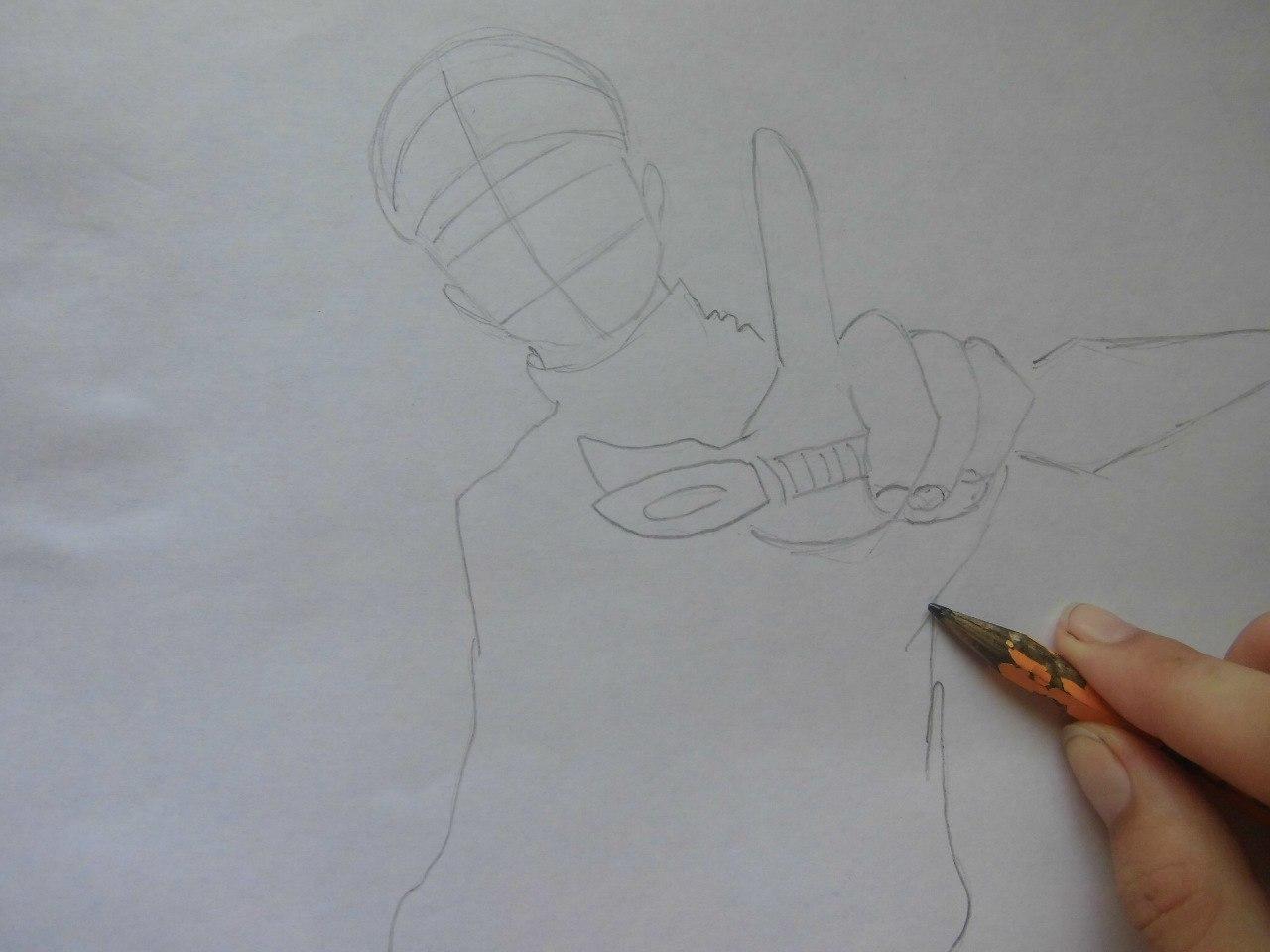 Рисуем Наруто с ножом - шаг 1