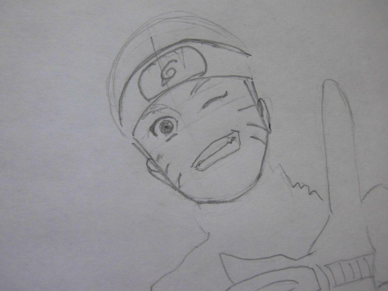 Рисуем Наруто с ножом - шаг 3