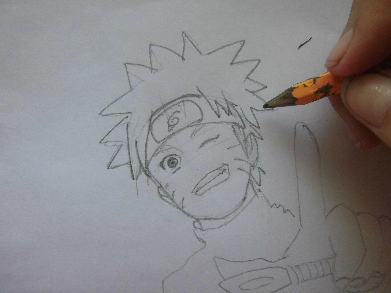 Рисуем Наруто с ножом - шаг 4