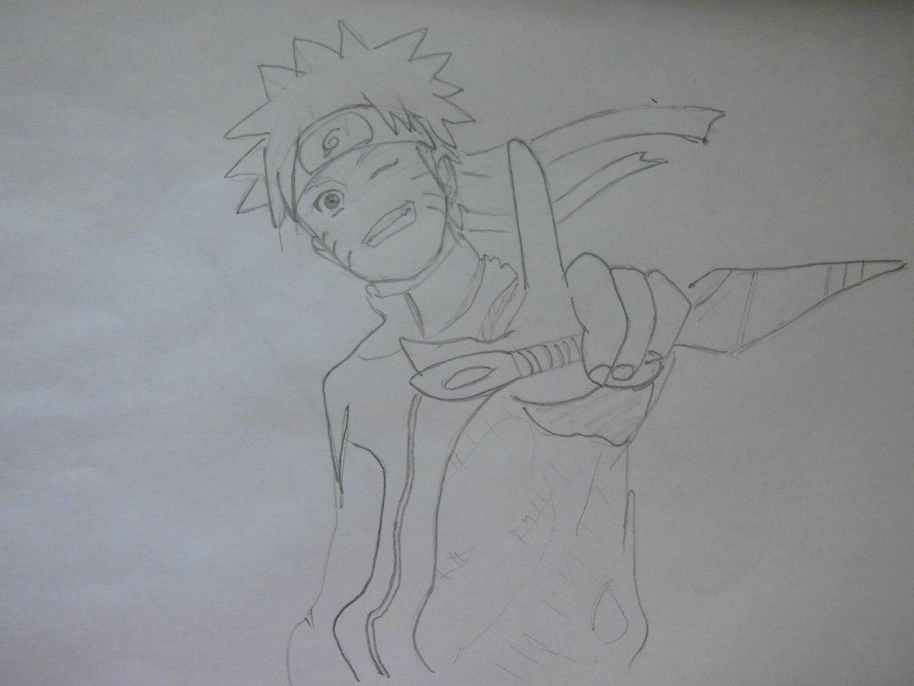Рисуем Наруто с ножом - шаг 5