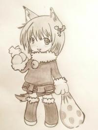 Фото неко в новогоднем костюме карандашом