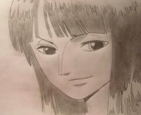 Нико Робин из One Piece карандашом