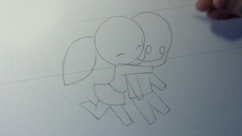 Рисуем обнимание в стиле Чиби