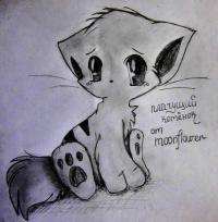 плачущего аниме котёнка карандашом