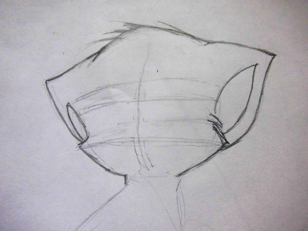 Рисуем плачущего аниме котёнка - шаг 2