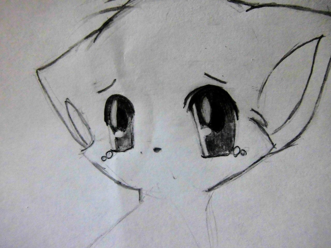 Рисуем плачущего аниме котёнка - шаг 4