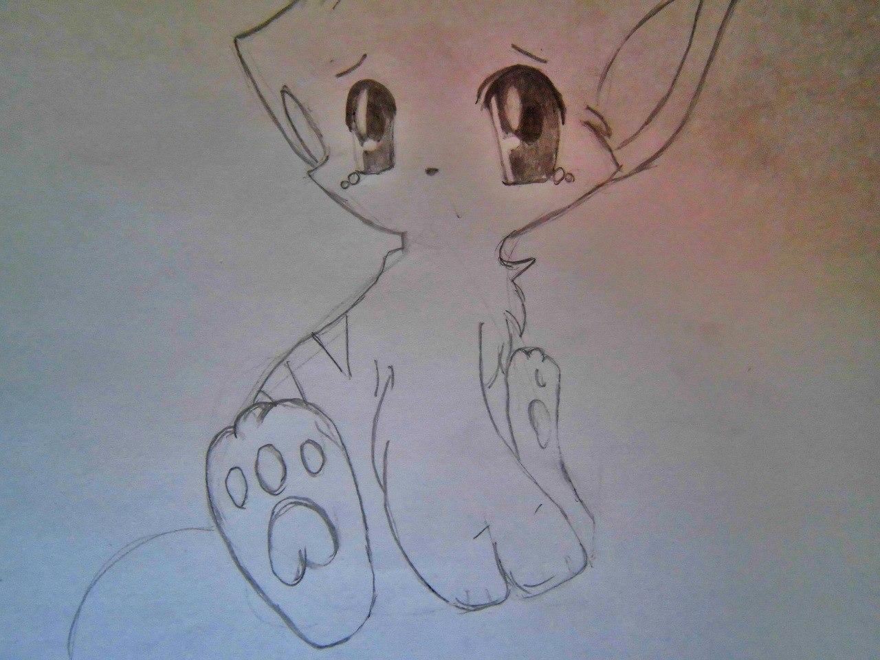 Рисуем плачущего аниме котёнка - шаг 5