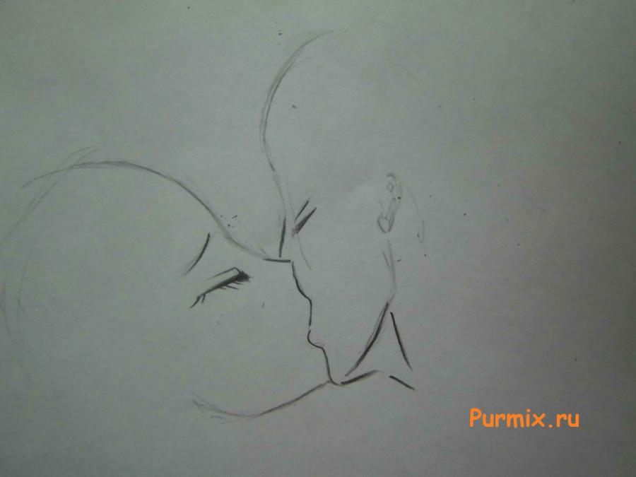 Рисуем поцелуй Дождии и Грея из аниме Сказка о хвосте феи