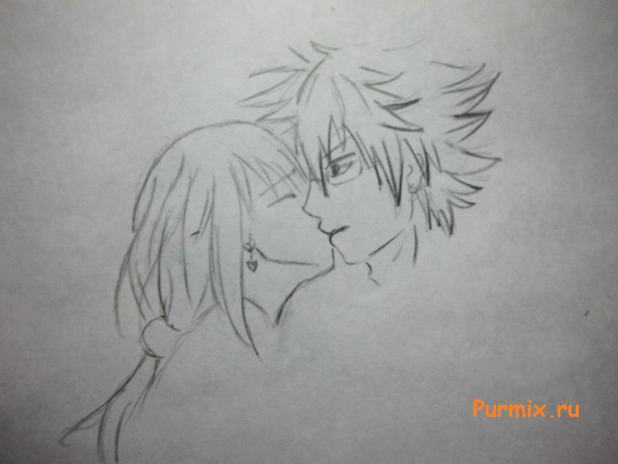 Рисуем поцелуй Люси и Локи из аниме Легенда о хвосте феи