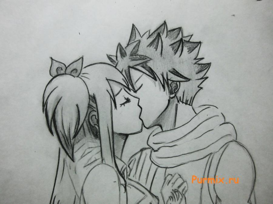 Рисуем поцелуй Нацу и Люси из аниме Сказка о хвосте феи
