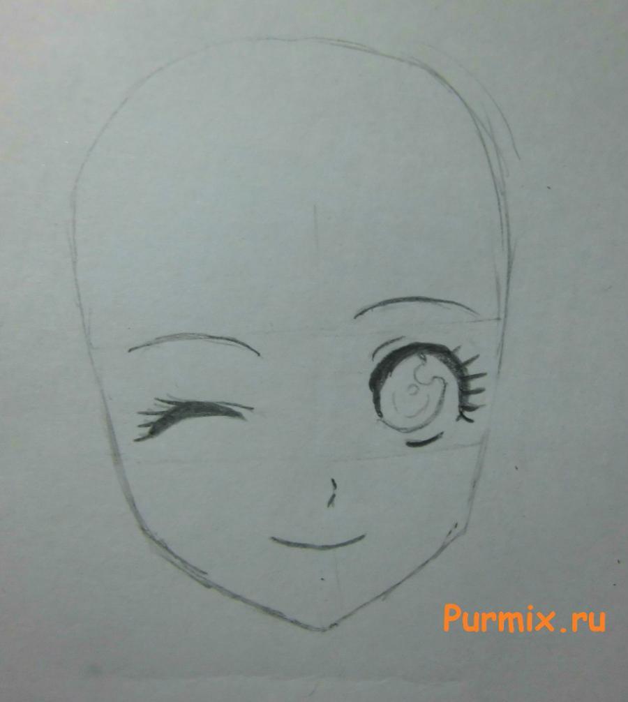 Рисуем подмигивающую аниме девушку  на бумаге