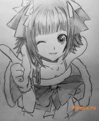 подмигивающую аниме девушку карандашом на бумаге