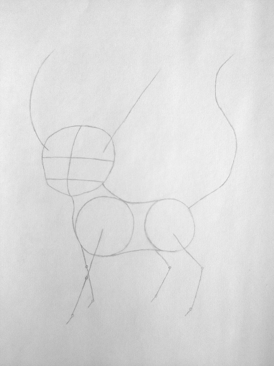 Рисуем покемона Лифеон цветными карандашами - шаг 2