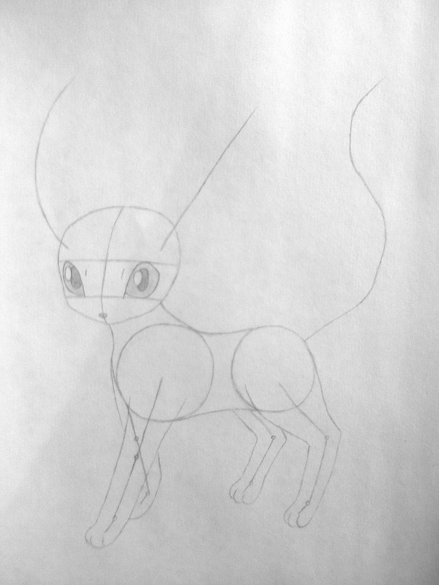 Рисуем покемона Лифеон цветными карандашами - шаг 3