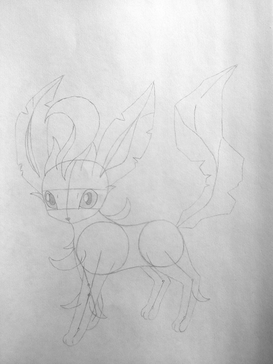 Рисуем покемона Лифеон цветными карандашами - шаг 4