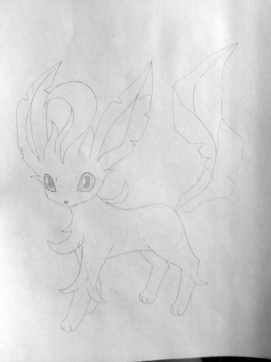 Рисуем покемона Лифеон цветными карандашами - шаг 5