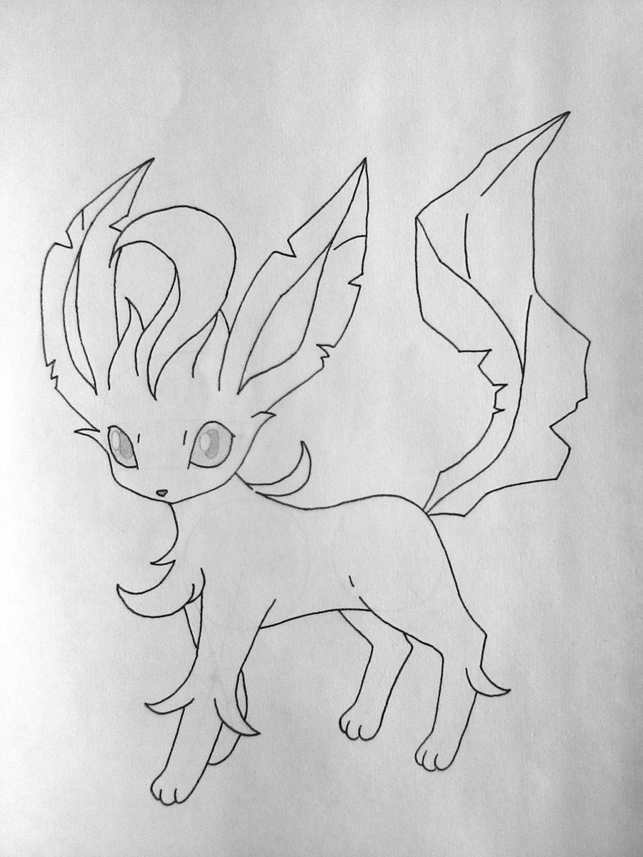 Рисуем покемона Лифеон цветными карандашами - шаг 6