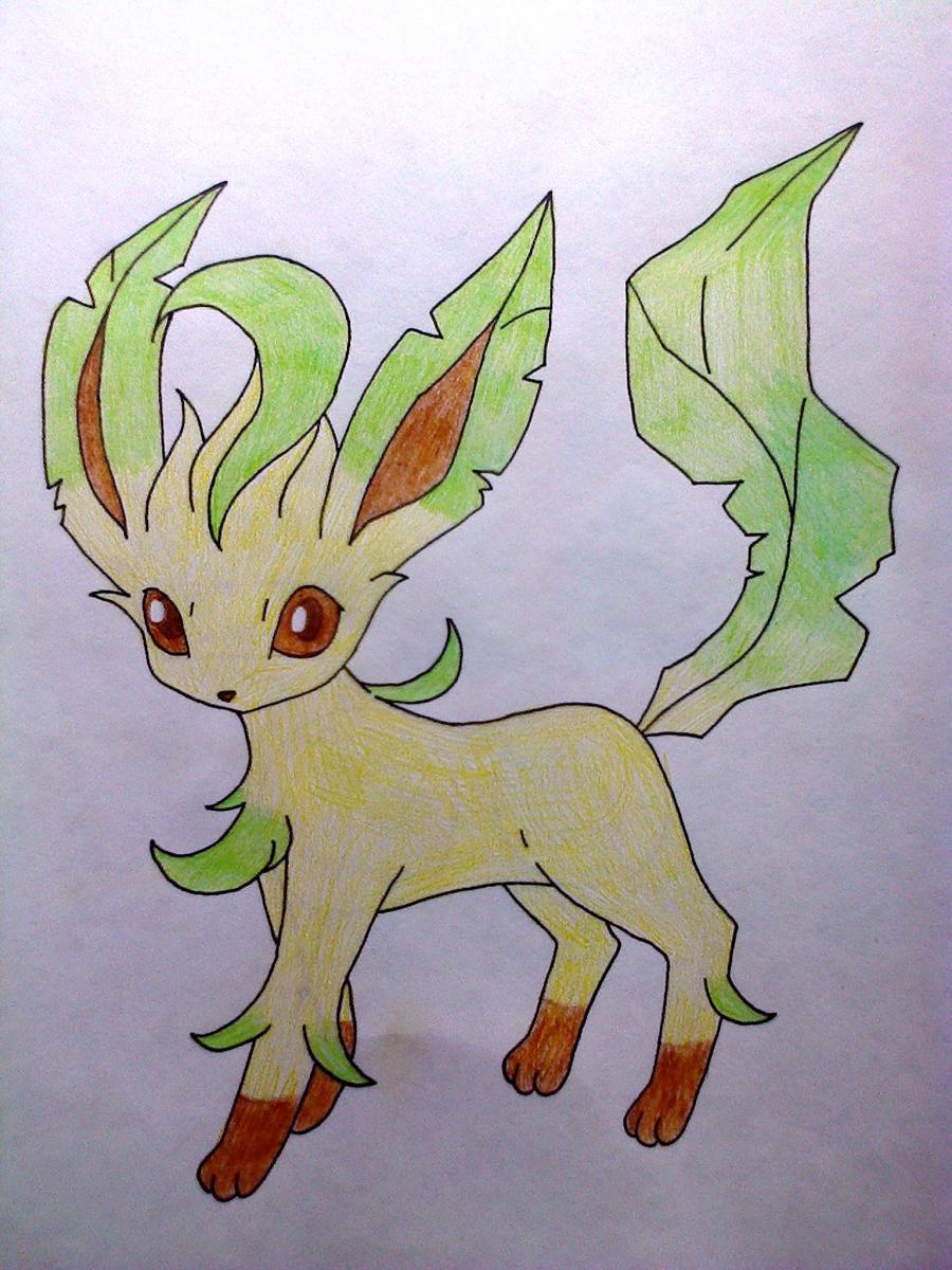 Рисуем покемона Лифеон цветными карандашами - шаг 7