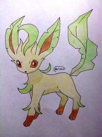 Как нарисовать покемона Лифеон цветными карандашами поэтапно