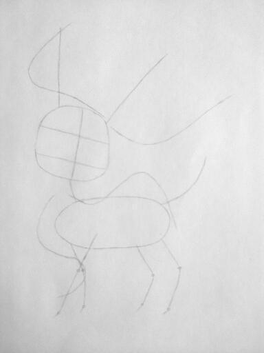 Рисуем покемона Сильвеон цветными карандашами - шаг 1