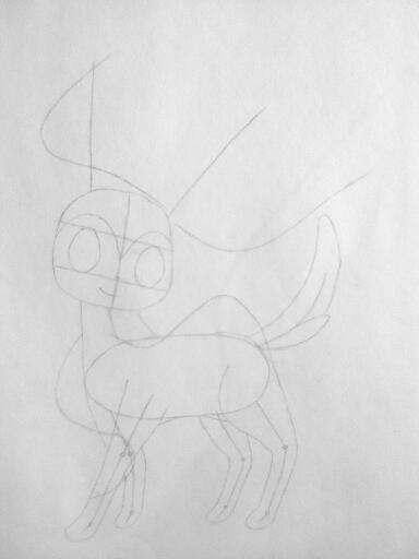 Рисуем покемона Сильвеон цветными карандашами - шаг 2