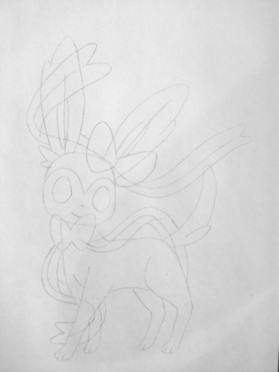 Рисуем покемона Сильвеон цветными карандашами - шаг 3