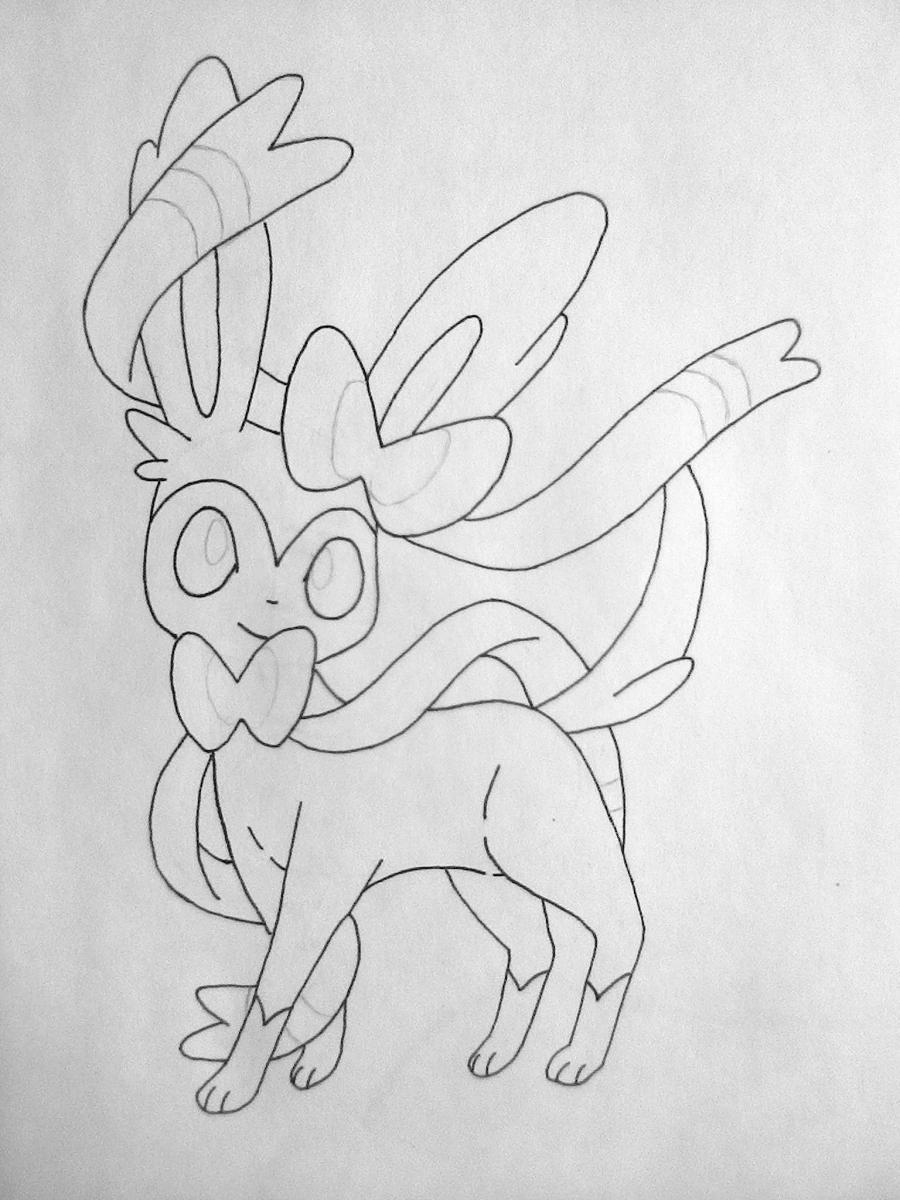 Рисуем покемона Сильвеон цветными карандашами - шаг 4