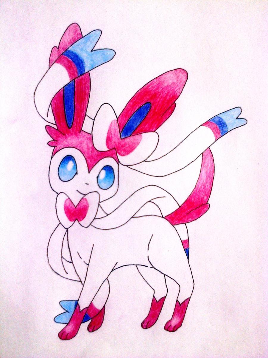 Рисуем покемона Сильвеон цветными карандашами - шаг 5