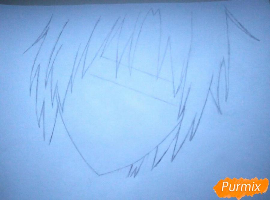 Как нарисовать портрет Аллена Уолкера из аниме Ди. Грей-мен карандашом - шаг 2