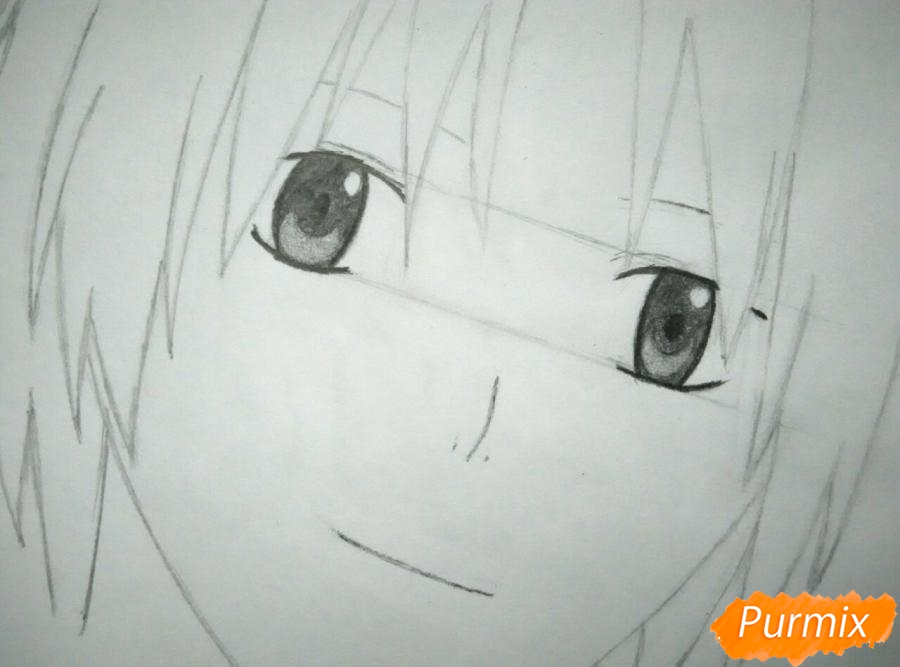Как нарисовать портрет Аллена Уолкера из аниме Ди. Грей-мен карандашом - шаг 3