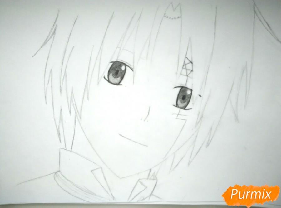 Как нарисовать портрет Аллена Уолкера из аниме Ди. Грей-мен карандашом - шаг 4
