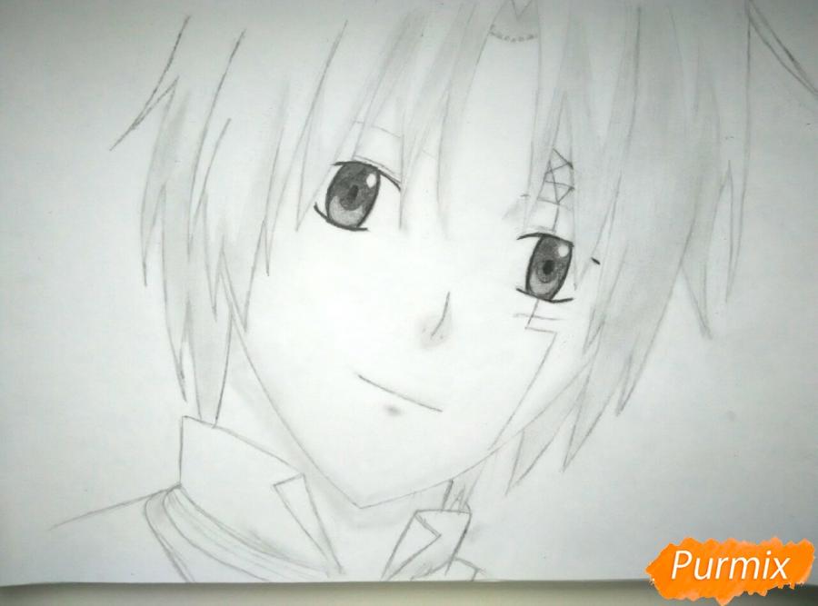 Как нарисовать портрет Аллена Уолкера из аниме Ди. Грей-мен карандашом - шаг 5