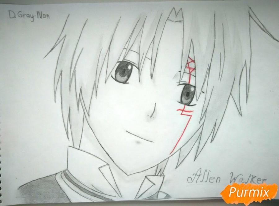 Как нарисовать портрет Аллена Уолкера из аниме Ди. Грей-мен карандашом