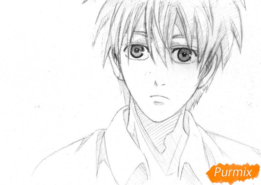Как нарисовать портрет Куроко Тэцуя из Kuroko no Basuke простым карандашом