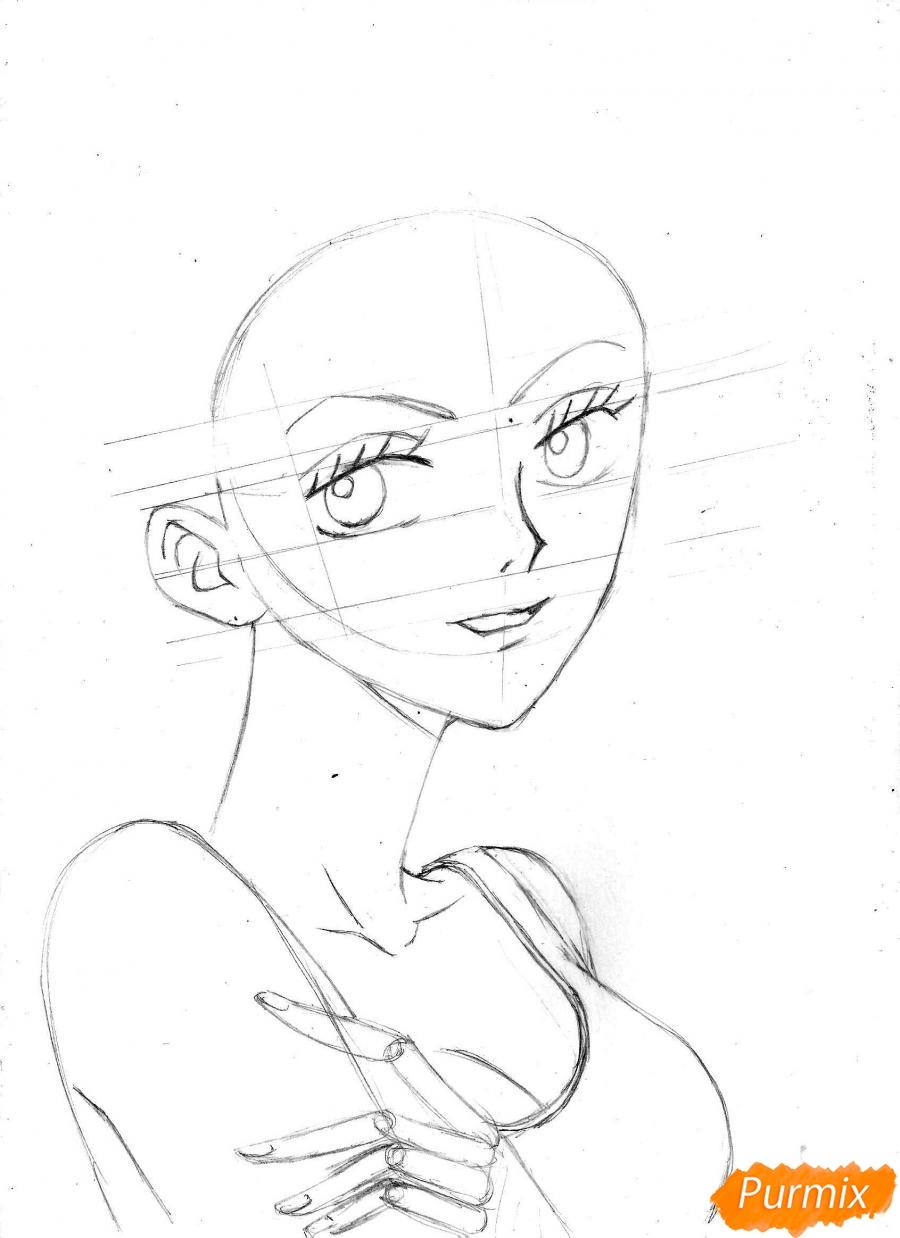 Рисуем и раскрасить портрет Ноджико из One Piece пошагово простым - шаг 13