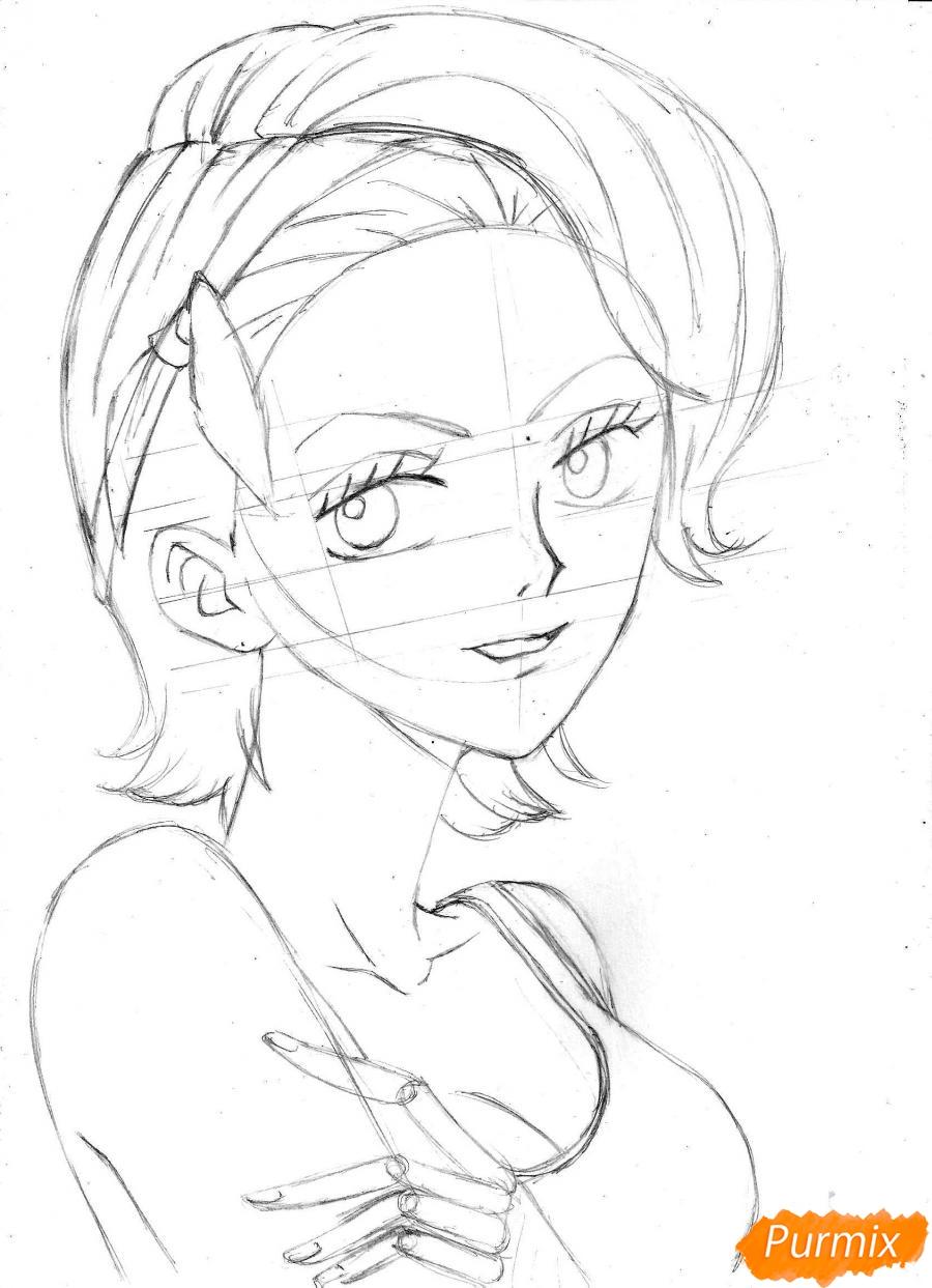 Рисуем и раскрасить портрет Ноджико из One Piece пошагово простым - шаг 16